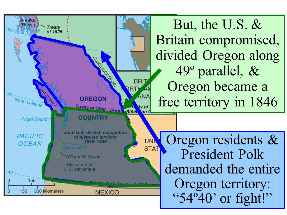 …Oregon was jointly occupied by the USA & Britain