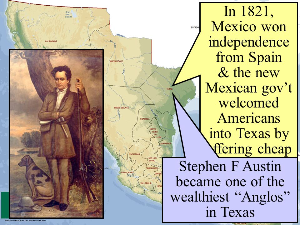Stephen F Austin became one of the wealthiest Anglos in Texas