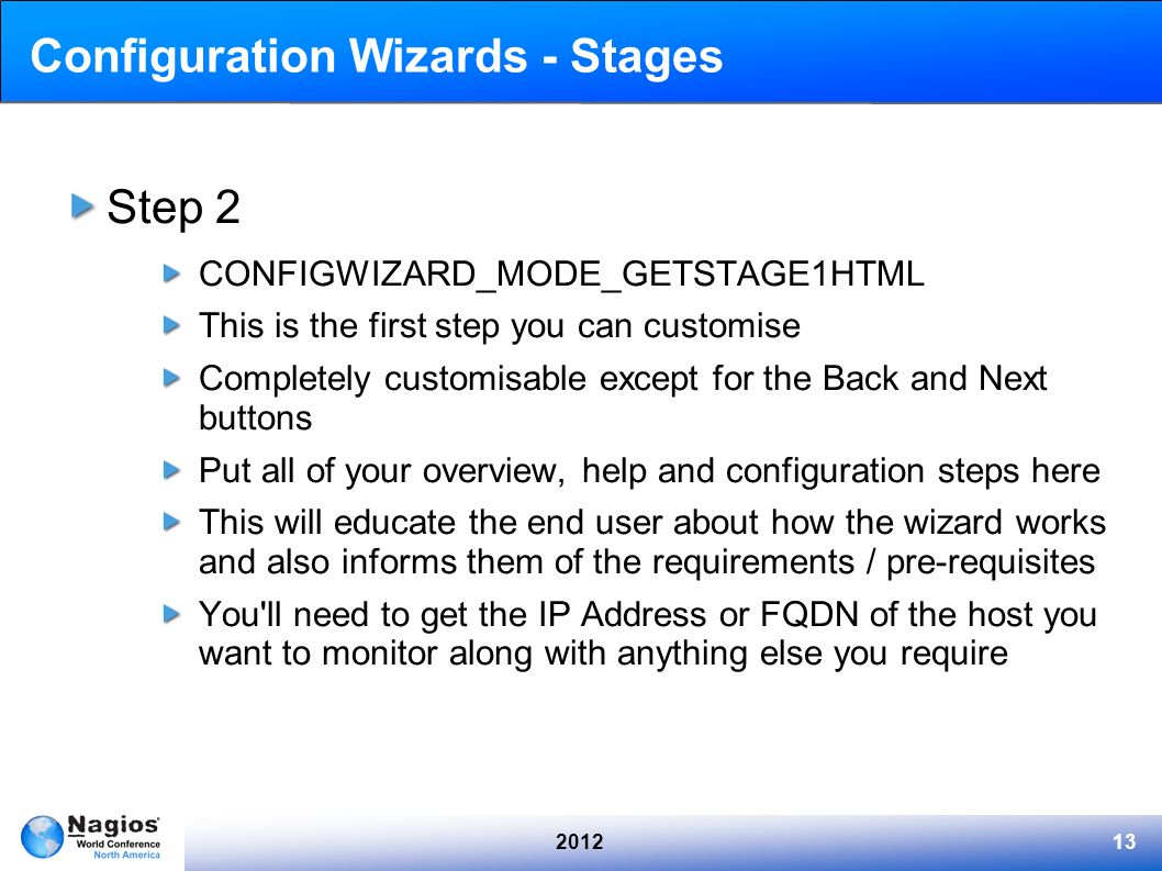 Configuration Wizards - Stages