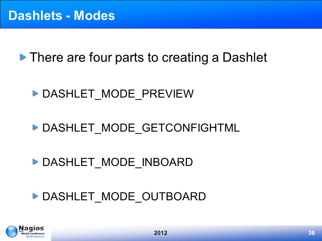 There are four parts to creating a Dashlet