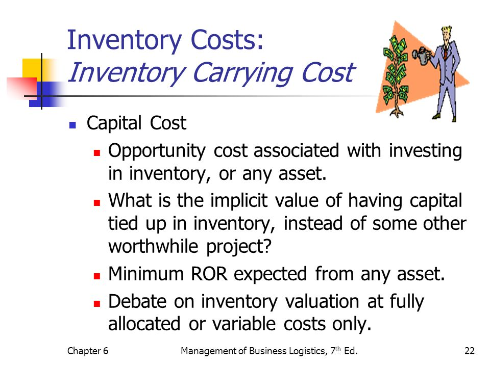 inventory carrying cost Carrying costs include all the expenses associated with storing the inventory depending on the type of company, these might include rent, insurance, security expenses, utility bills, refrigeration and any other maintenance- or storage-related expenses.