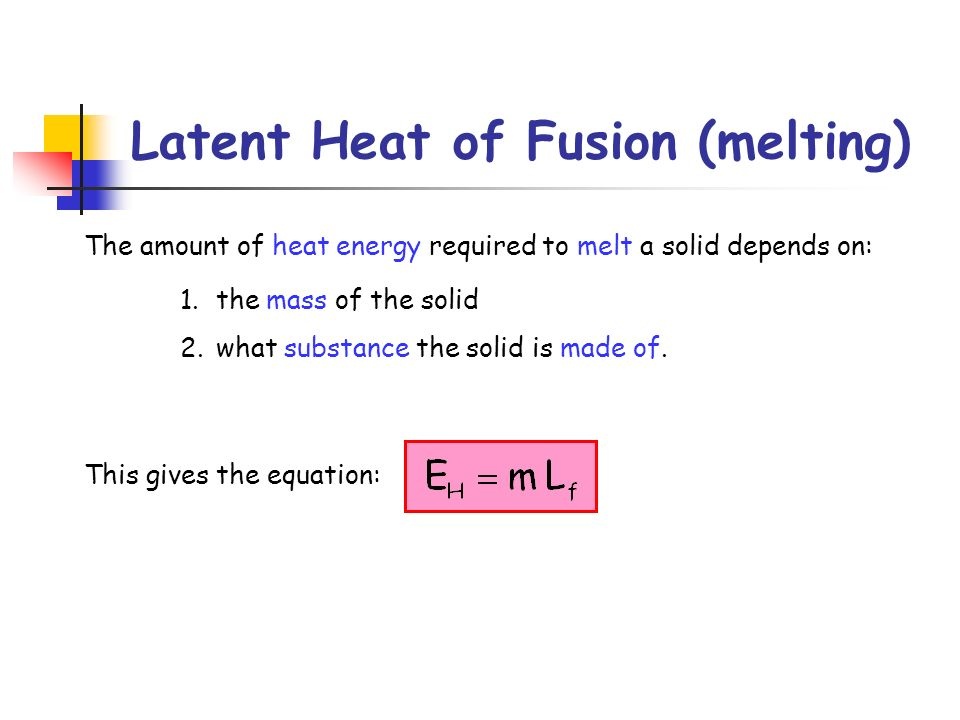 Latent Heat of Fusion (melting)