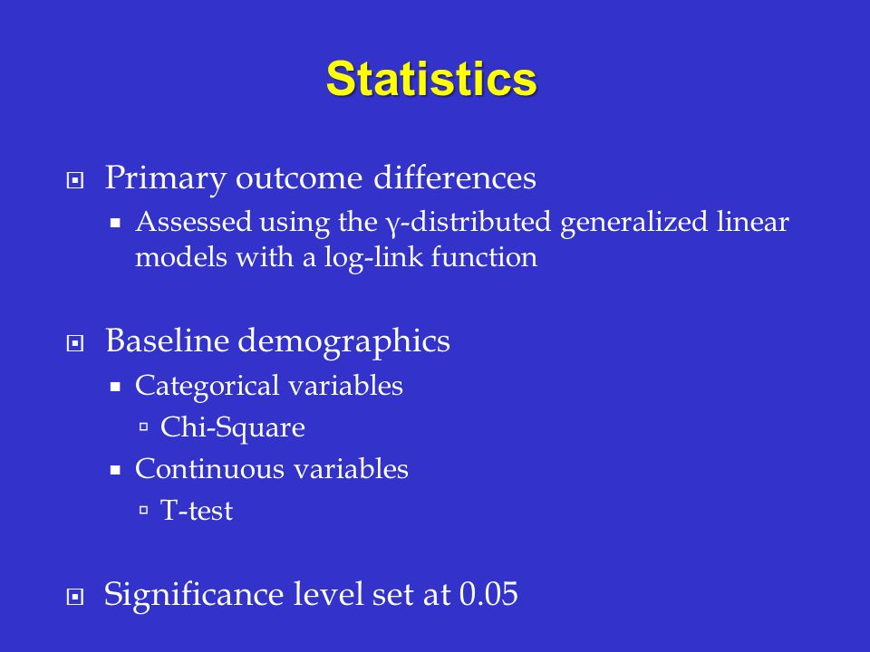 Statistics Primary outcome differences Baseline demographics