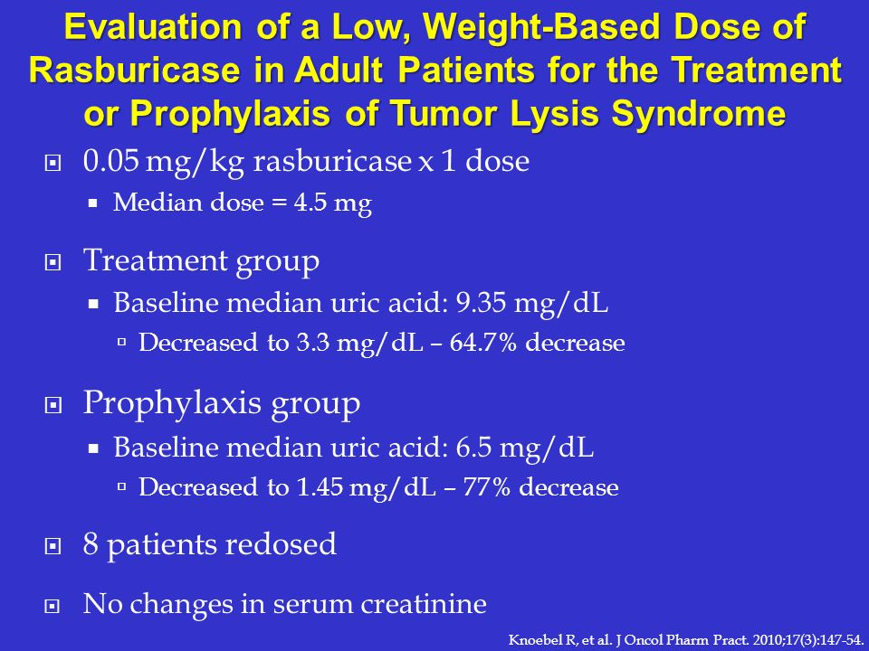 Evaluation of a Low, Weight-Based Dose of Rasburicase in Adult Patients for the Treatment or Prophylaxis of Tumor Lysis Syndrome