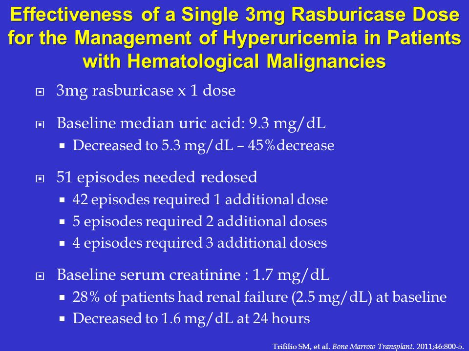 Effectiveness of a Single 3mg Rasburicase Dose for the Management of Hyperuricemia in Patients with Hematological Malignancies