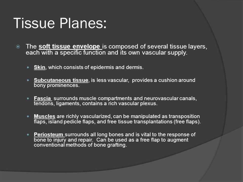 Tissue Planes: The soft tissue envelope is composed of several tissue layers, each with a specific function and its own vascular supply.