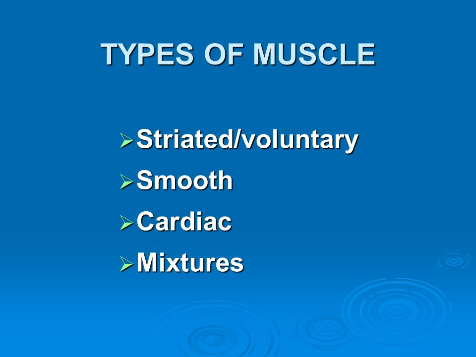 TYPES OF MUSCLE Striated/voluntary Smooth Cardiac Mixtures