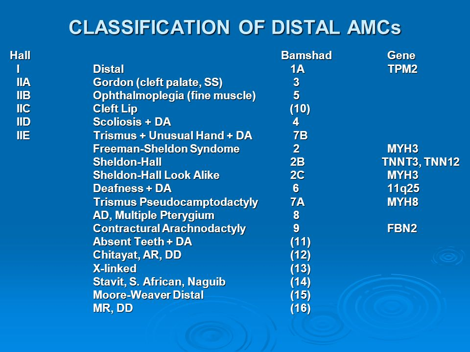 CLASSIFICATION OF DISTAL AMCs