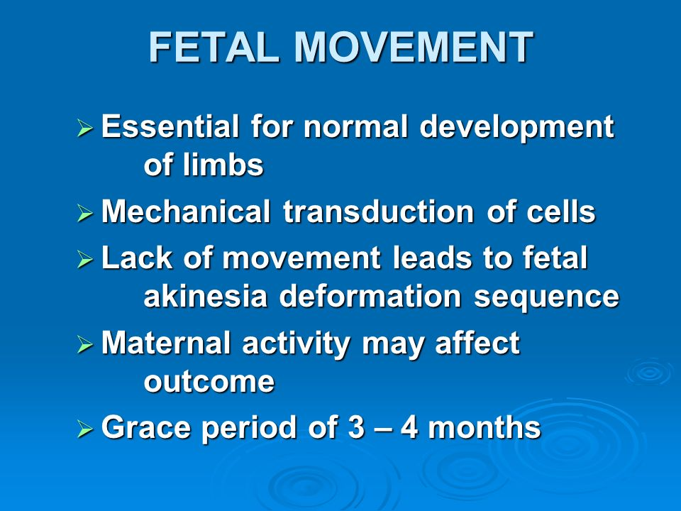 FETAL MOVEMENT Essential for normal development of limbs
