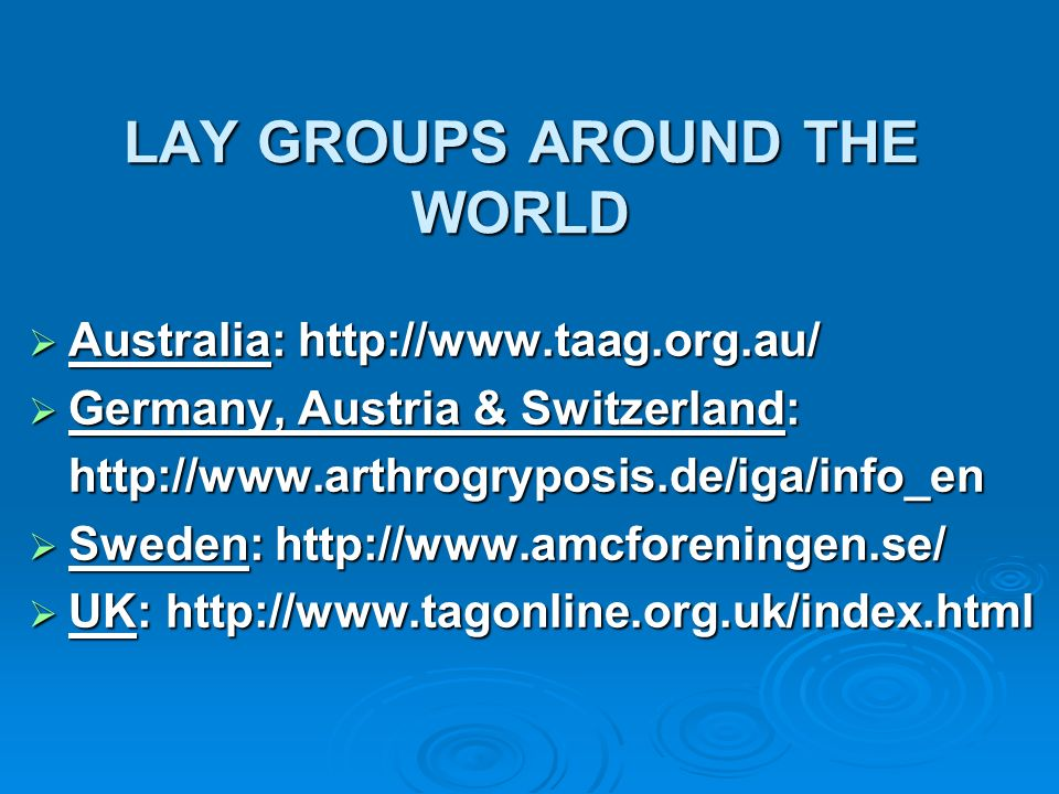 LAY GROUPS AROUND THE WORLD