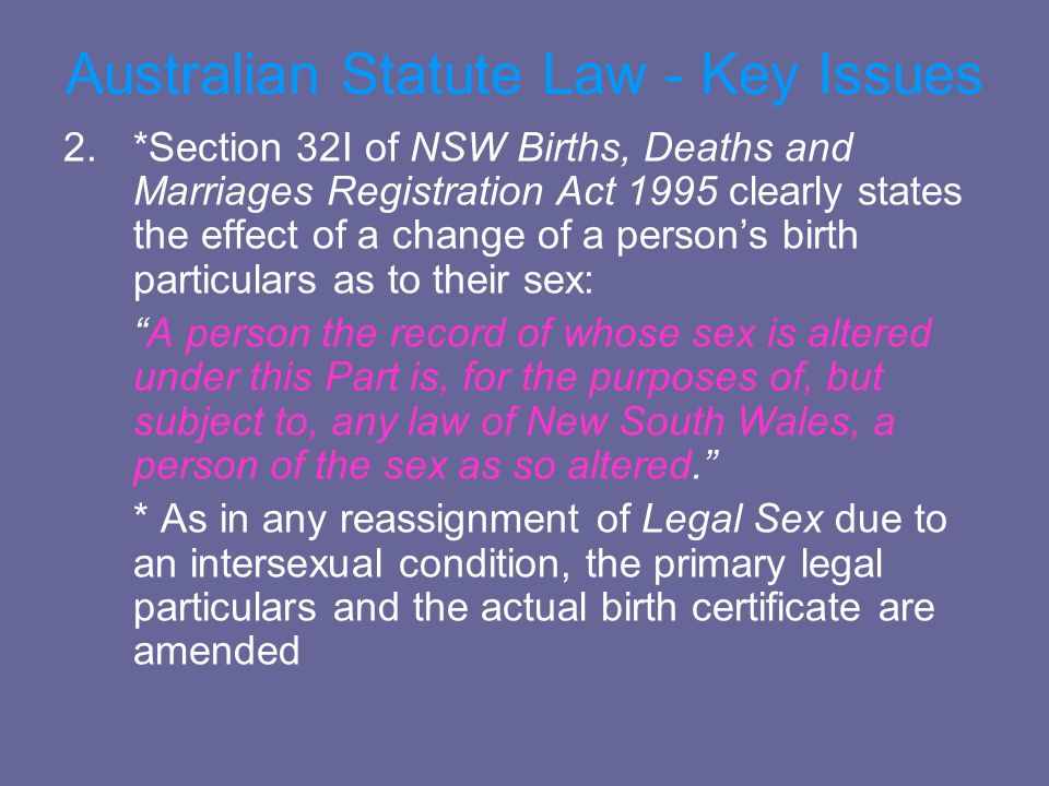 Australian Statute Law - Key Issues