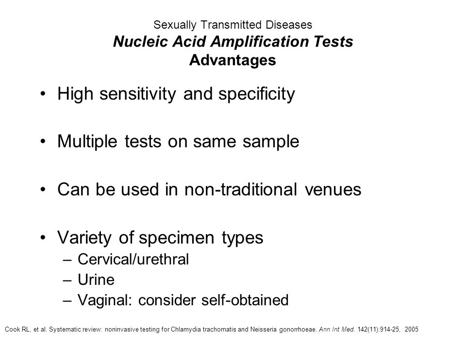 High sensitivity and specificity Multiple tests on same sample