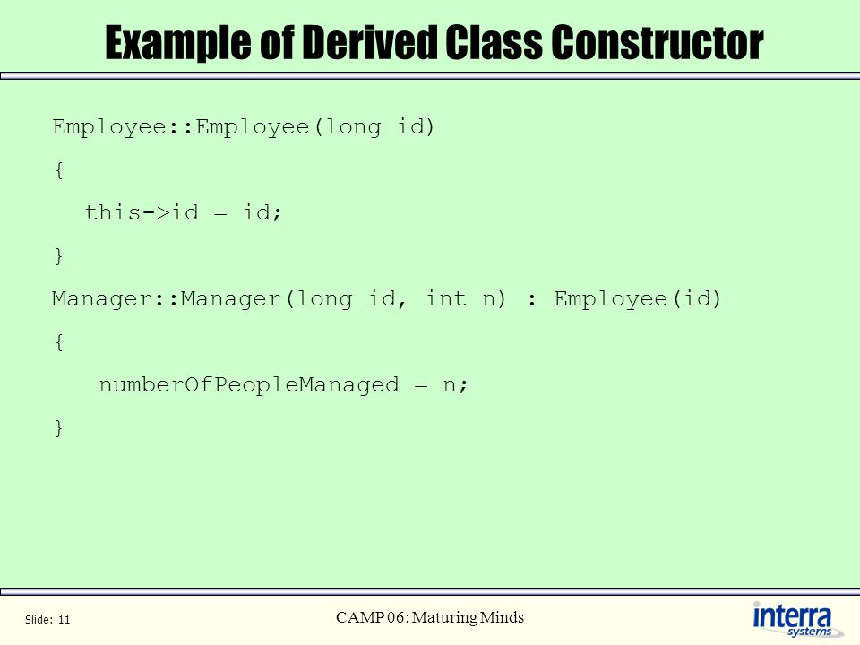 Example of Derived Class Constructor
