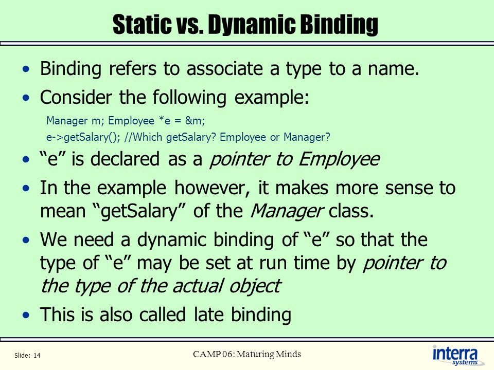 Static vs. Dynamic Binding