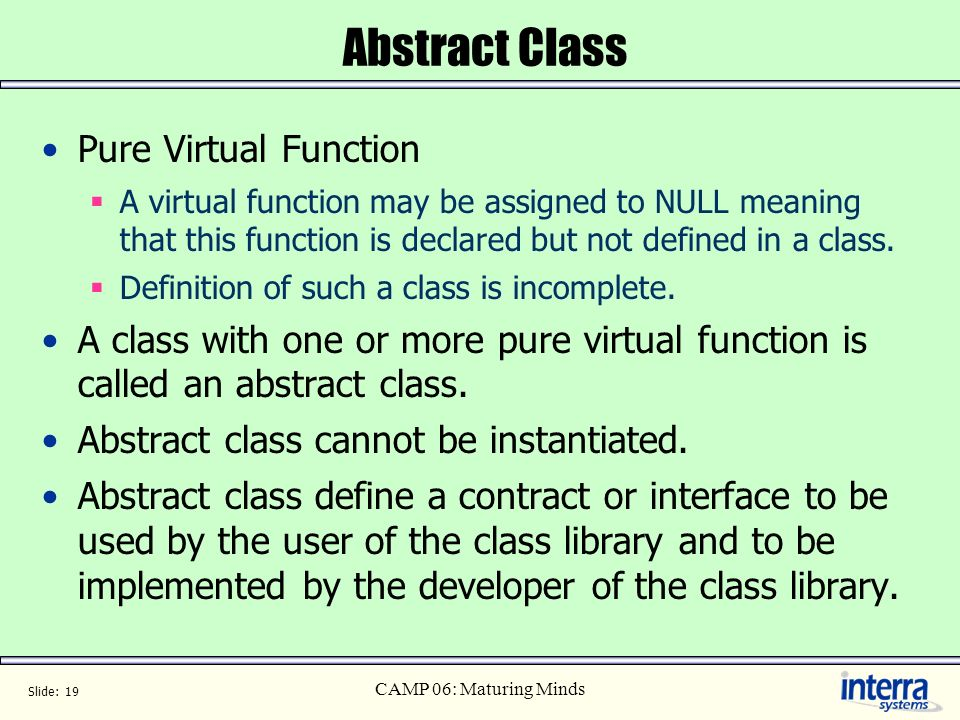 Abstract Class Pure Virtual Function