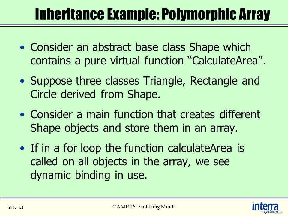 Inheritance Example: Polymorphic Array