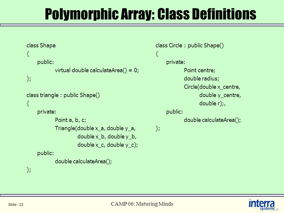 Polymorphic Array: Class Definitions