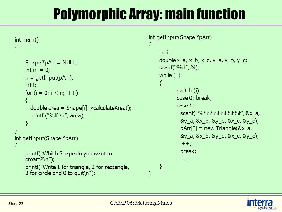 Polymorphic Array: main function