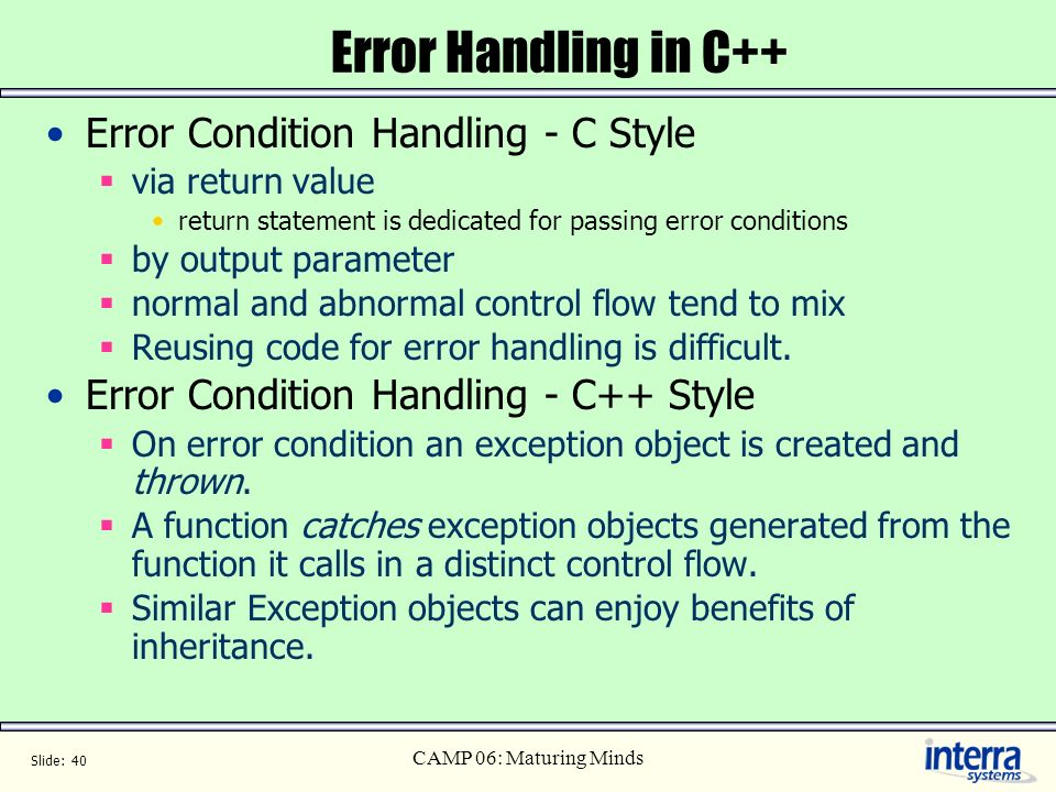 Error Handling in C++ Error Condition Handling - C Style