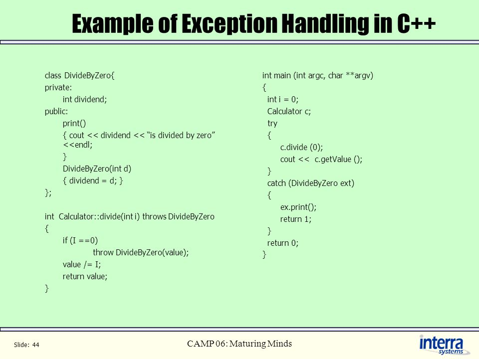 Example of Exception Handling in C++
