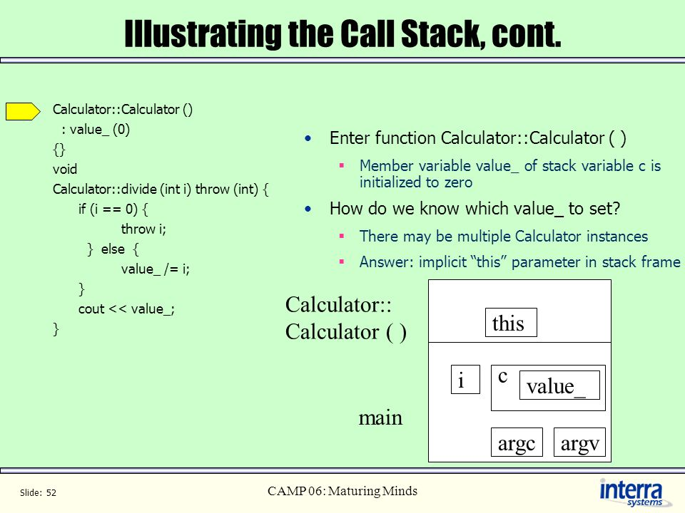 Illustrating the Call Stack, cont.