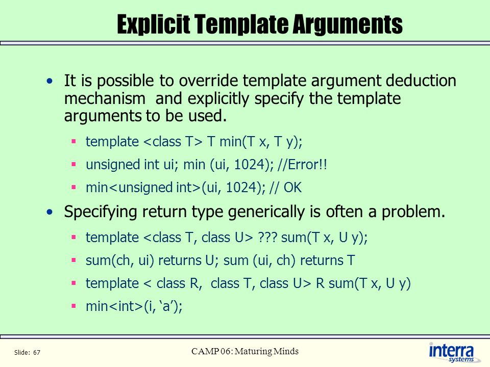 Explicit Template Arguments