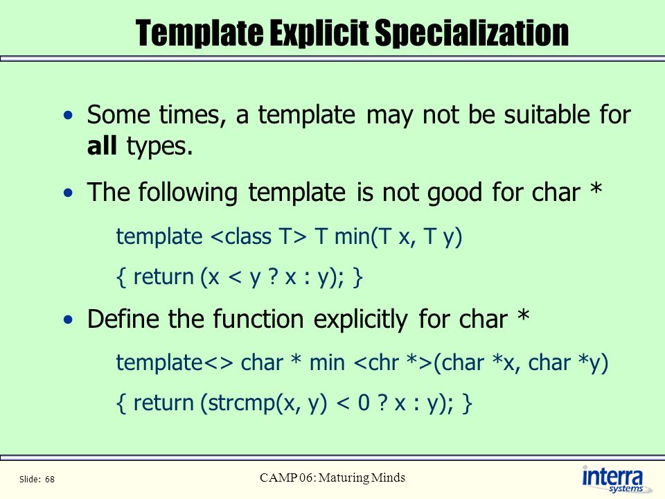 Template Explicit Specialization