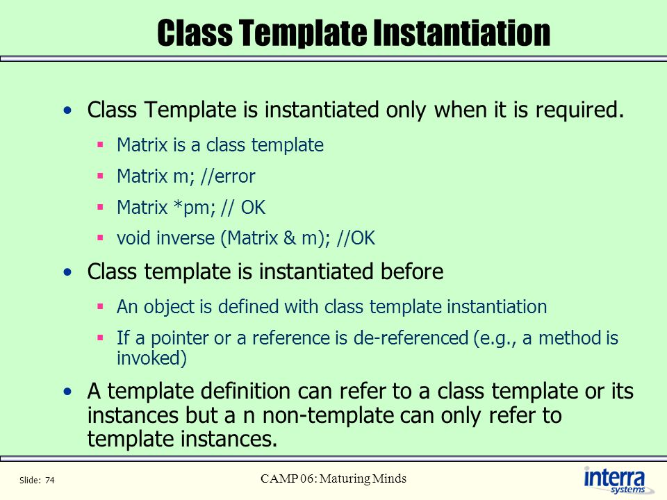 Class Template Instantiation