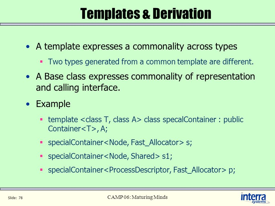 Templates & Derivation