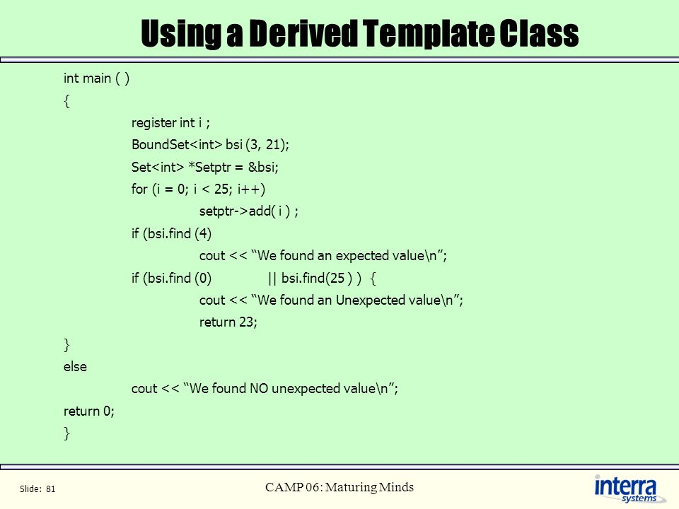 Using a Derived Template Class