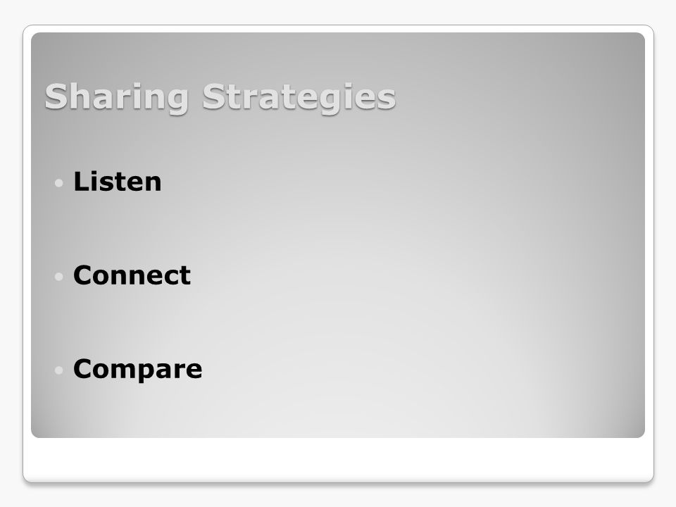 Sharing Strategies Listen Connect Compare