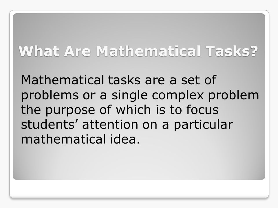 What Are Mathematical Tasks