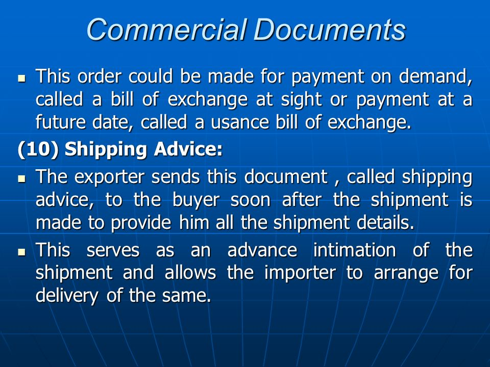 Commercial Documents