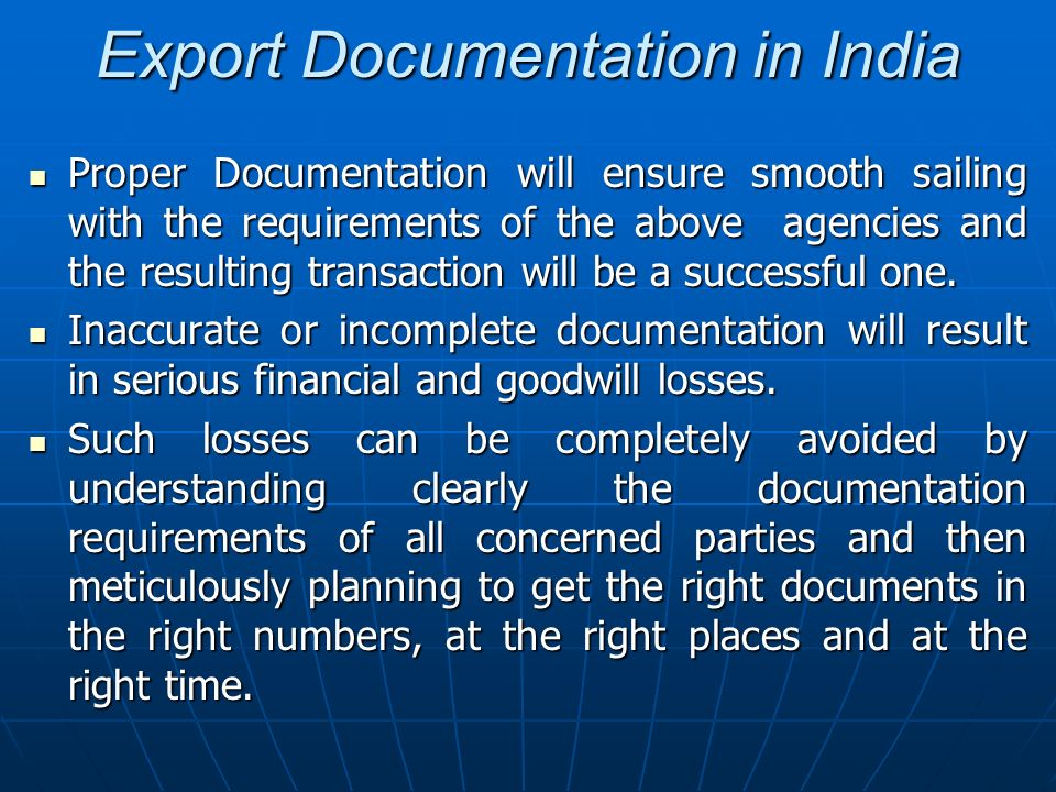 Export Documentation in India