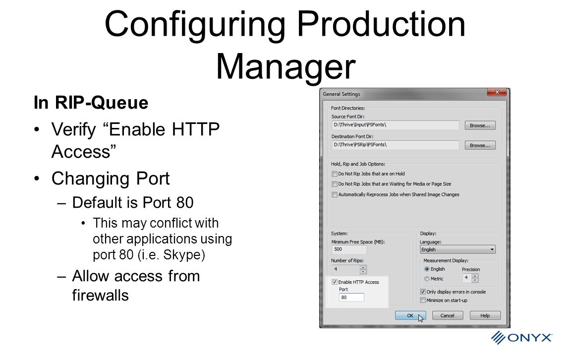 Configuring Production Manager