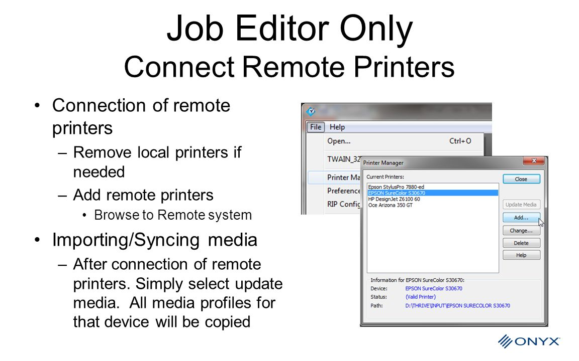 Job Editor Only Connect Remote Printers