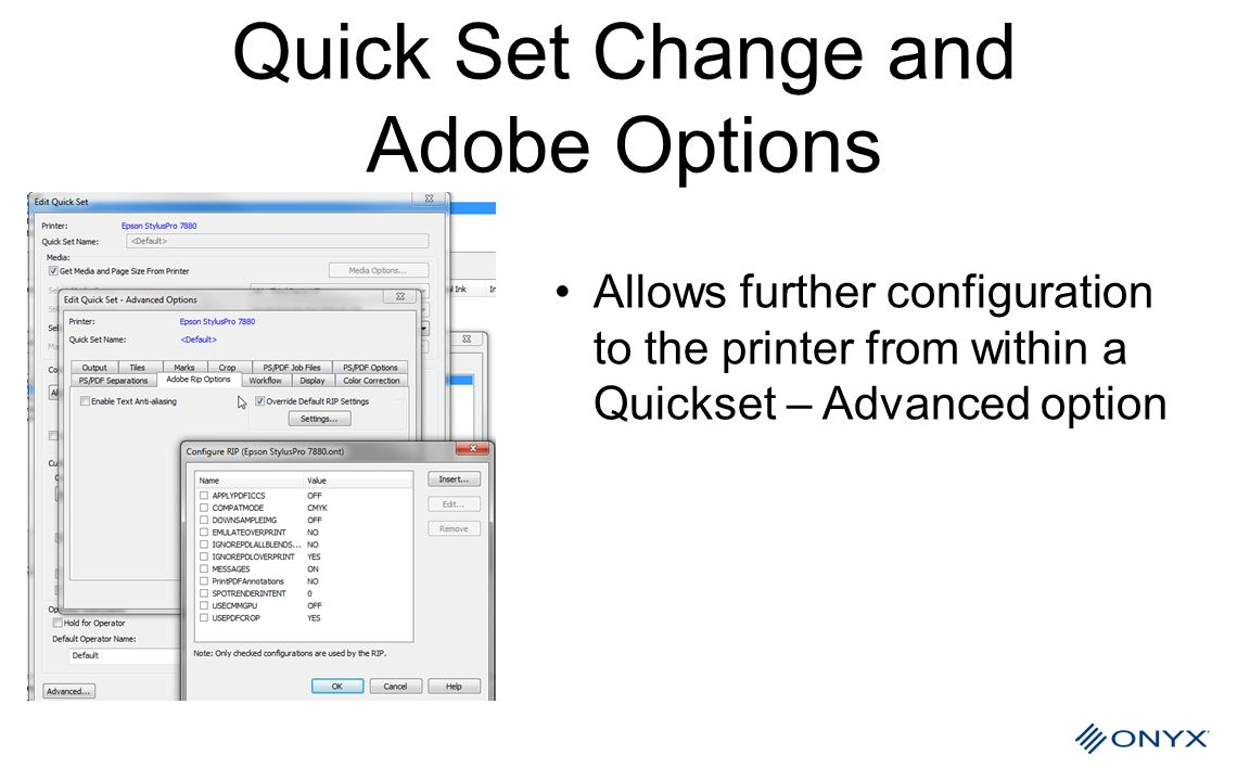 Quick Set Change and Adobe Options
