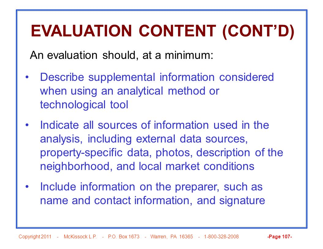 EVALUATION CONTENT (CONT'D)