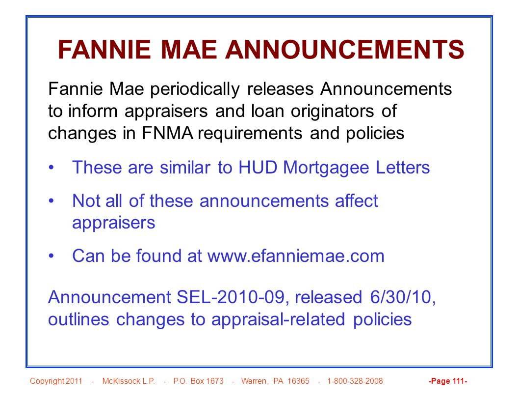 FANNIE MAE ANNOUNCEMENTS