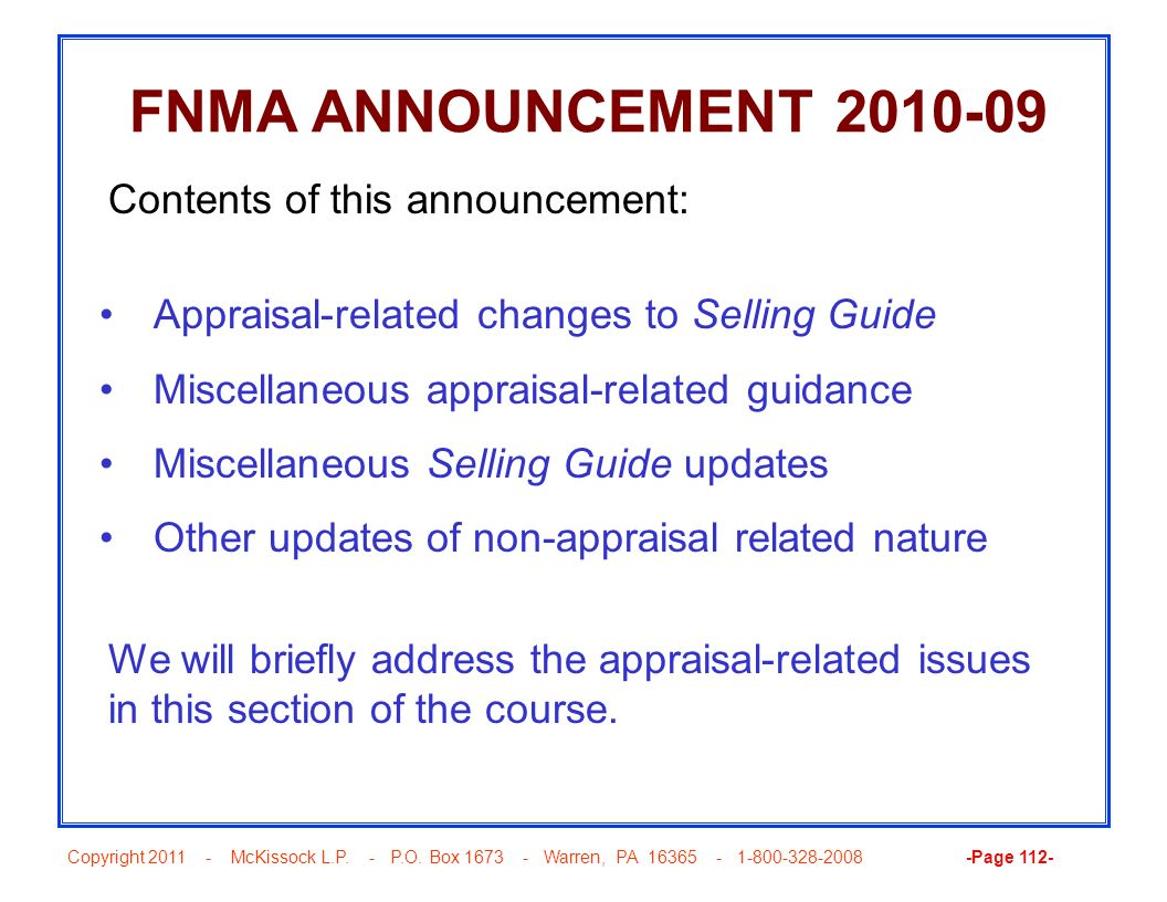 FNMA ANNOUNCEMENT 2010-09 Contents of this announcement: