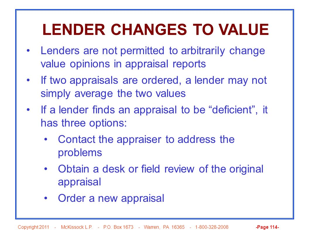 LENDER CHANGES TO VALUE
