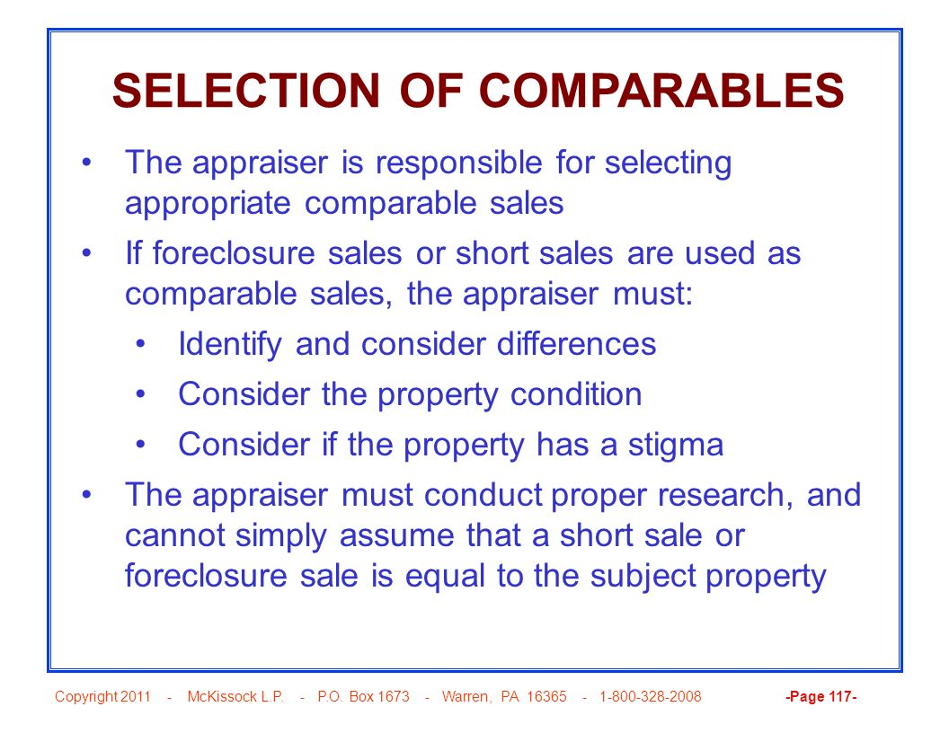 SELECTION OF COMPARABLES