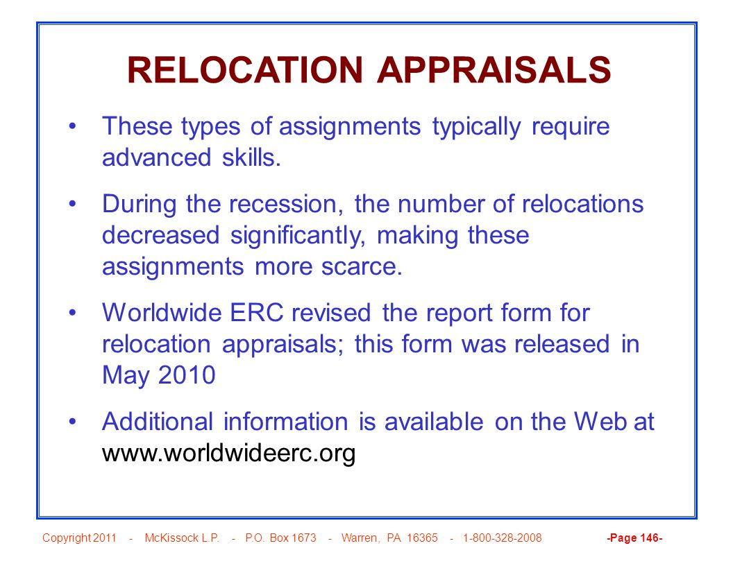 RELOCATION APPRAISALS