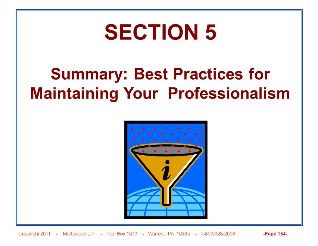 Summary: Best Practices for Maintaining Your Professionalism