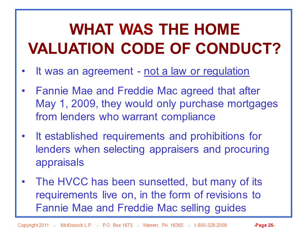 WHAT WAS THE HOME VALUATION CODE OF CONDUCT