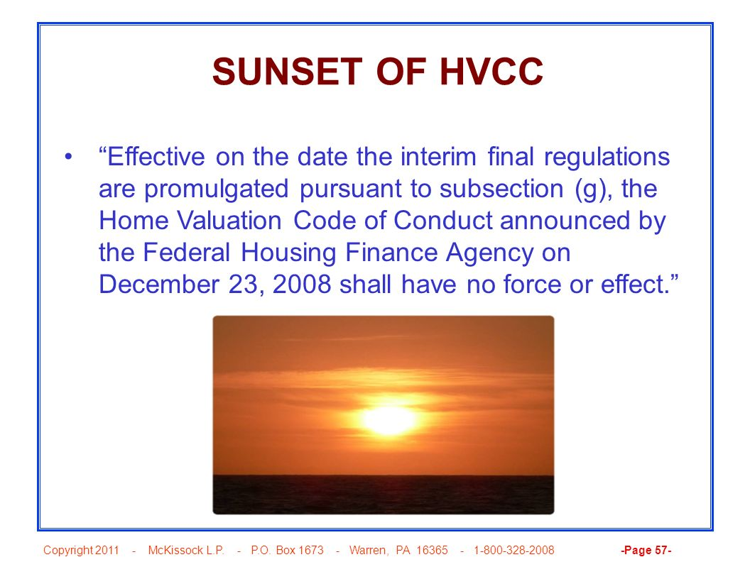 SUNSET OF HVCC