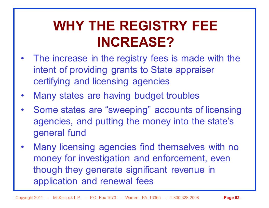 WHY THE REGISTRY FEE INCREASE