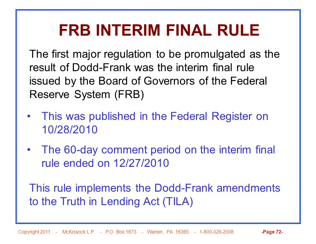 FRB INTERIM FINAL RULE