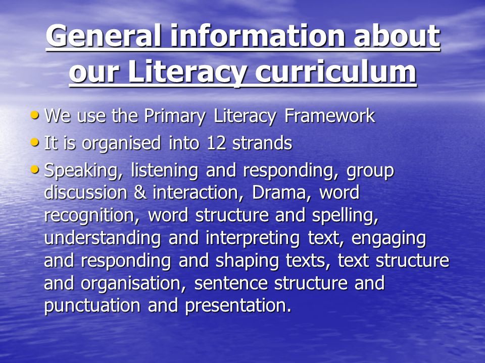 General information about our Literacy curriculum