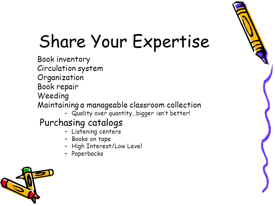 Share Your Expertise Purchasing catalogs Book inventory